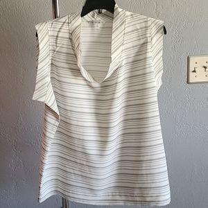 Cabi Madeline Striped Top Blouse Black White